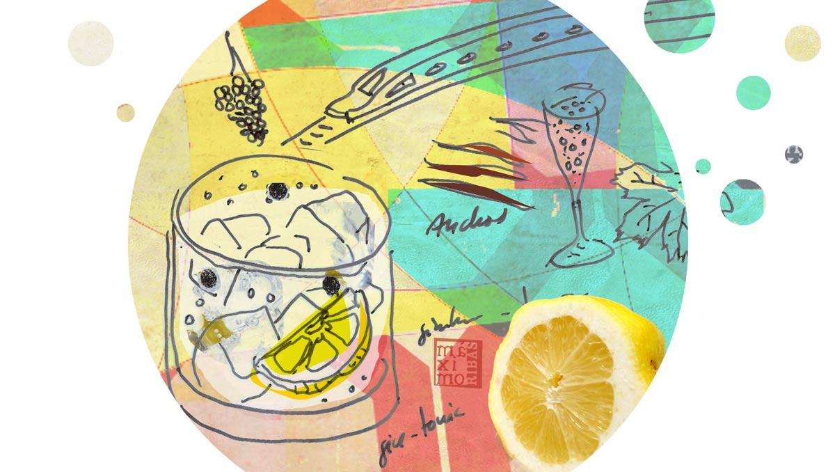 Ilustración sobre el gin tonic, con foto de limón, dubujo de vaso con gin tonic, el ave, anchoas y copa de cava