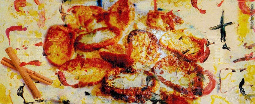 Ilustración sobre las torrijas de cuaresma de Máximo Ribas, publicado en la revista de gastronomía Sobremesa. número 362. Abril de 2017. Año 34