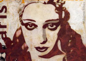 Ilustración sobre Josephine Baker realizada por Máximo Ribas. Abril de 2002 en la Revista Sobremesa