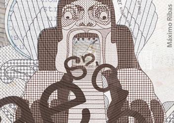 Ilustración sobre el texto devorando letras realizada por Máximo Ribas