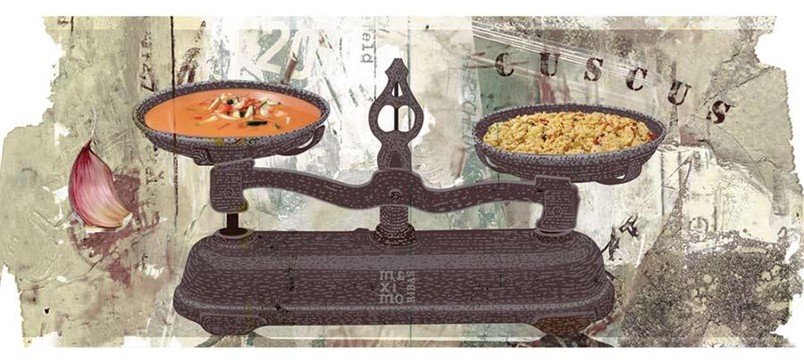 Ilustración de Máximo Ribas sobre el gazpacho y el cuscús.