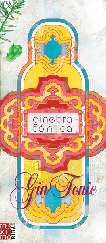 ilustración dibujo de botella de gin tonic realizada por Máximo Ribas para el texto de José Manuel Vilabella en la revista Sobremesa. Publicado en septiembre de 2013, en la Revista de Gastronomía Sobremesa, en el número 326.