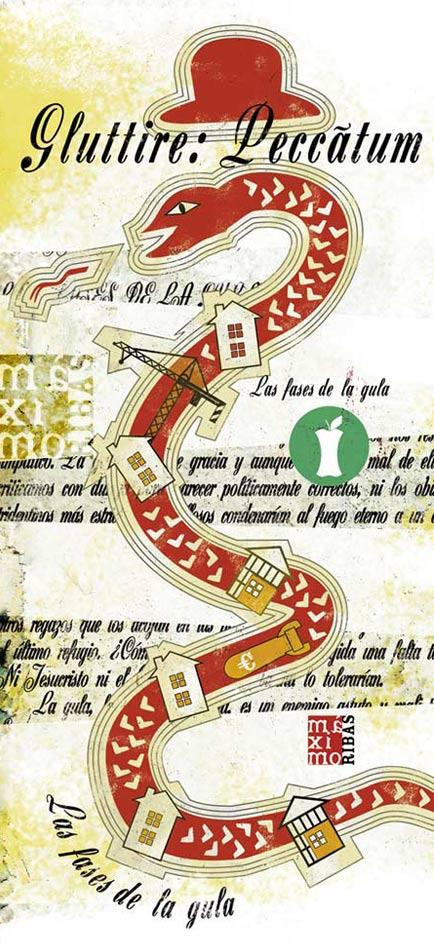 ilustración de sobre el pecado de la gula realizada por Máximo Ribas para la revista Sobremesa
