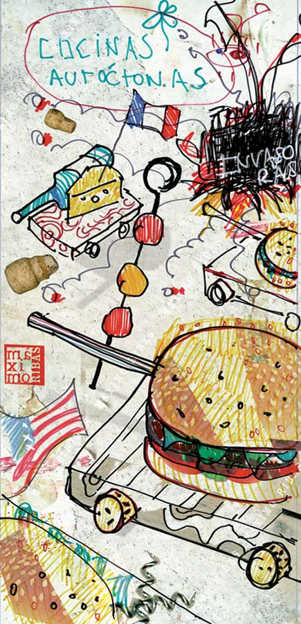 Ilustración sobre las cocinas invasoras creada por Máximo Ribas