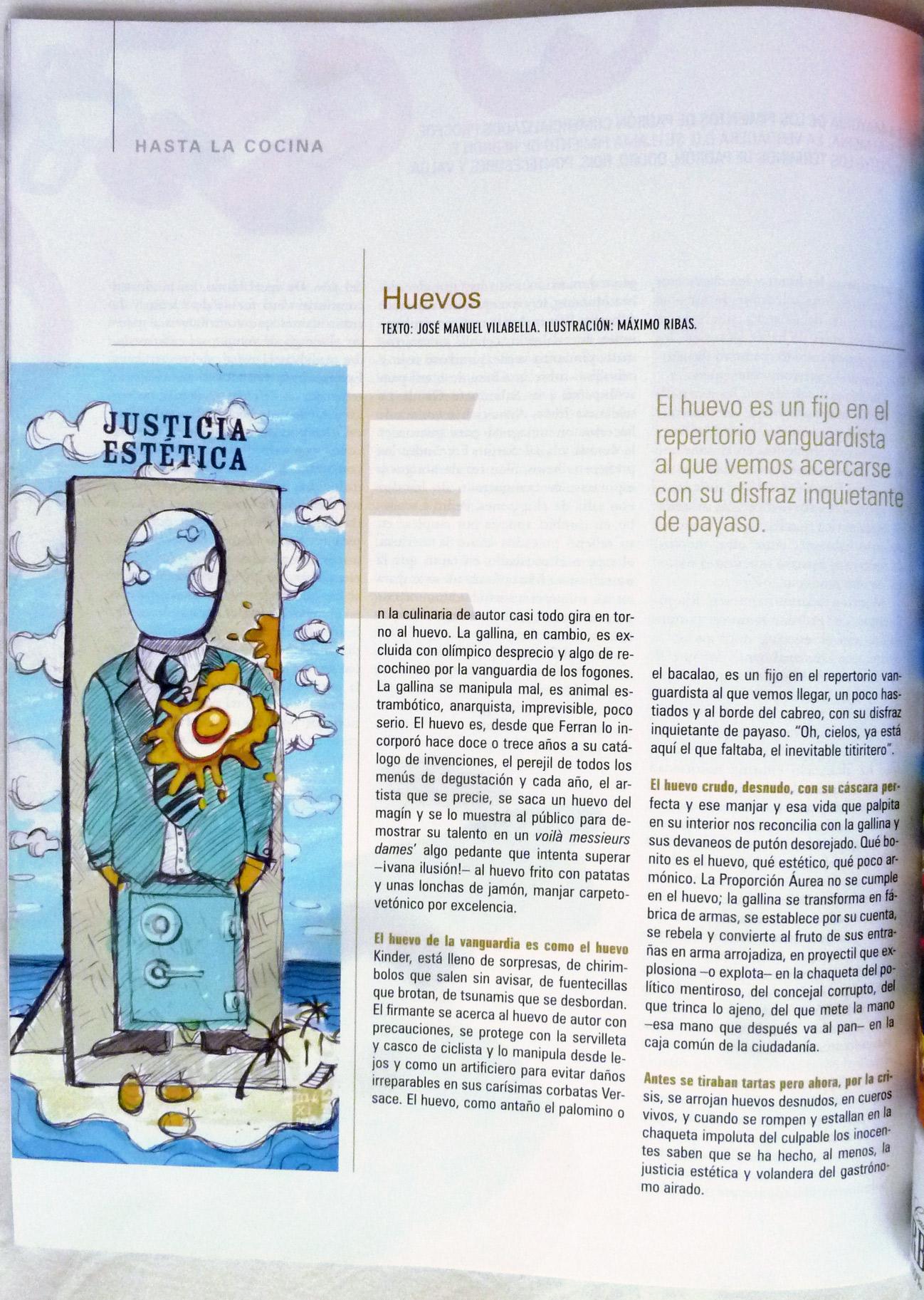 Publicación de la ilustración Justicia estética contra los políticos realizada por Máximo Ribas. Publicada en la revista Sobremesa, número 313.