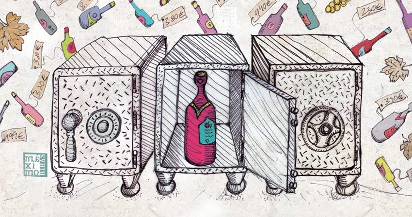 Ilustración sobre los vinos caros que hay que guardar en la caja fuerte