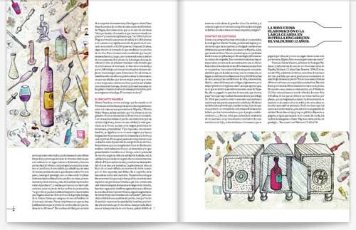 Publicación de las ilustración sobre los vinos caros en la caja fuerte realizada por Máximo RIbas