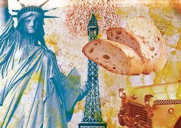 Ilustración de los ingredientes de las migas en las ciudades gastronómicas