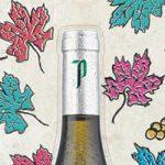 Ilustración publicitaria para Protos con hojas de parra y uvas