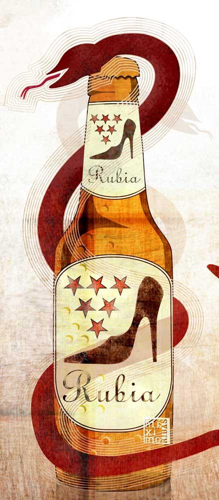 Ilustración sobre las rubias peligrosas disfrazadas de cerveza realizada por Máximo Ribas