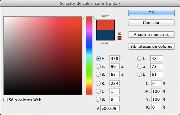 panel de control de color en photoshop
