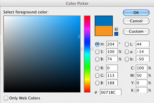 foto del panel de control de photoshop con los porcentajes del azul, color complementario del naranja