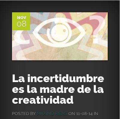ilustración de máximo ribas con un ojo y una interrogación con el texto: la incertidumbre es la madre de la creatividad