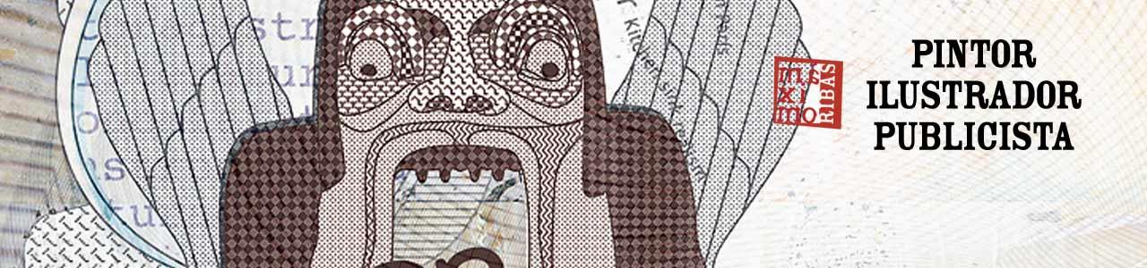 Ilustración (detalle) titulada «Devorando letras» realizada para la revista Sobremesa