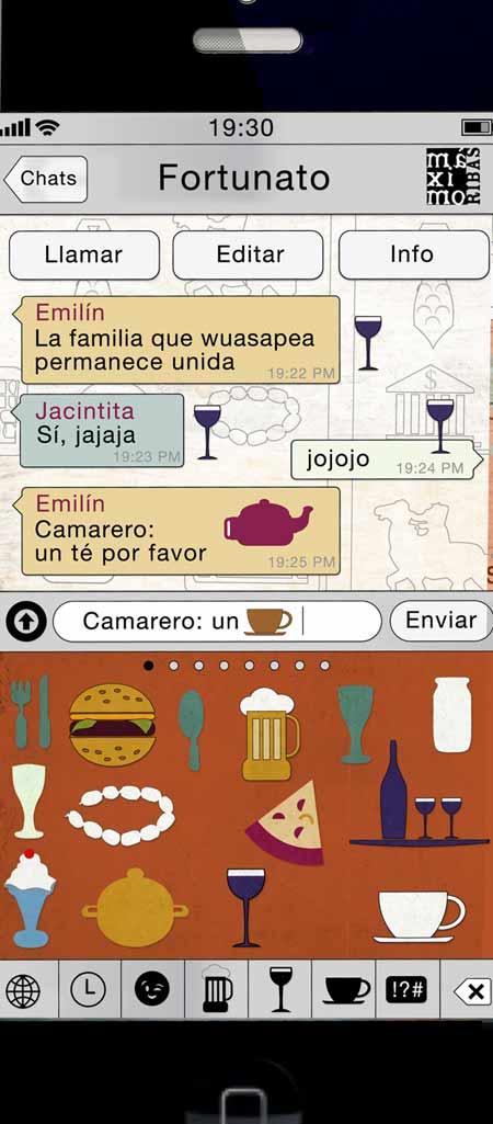ilustracción de Máximo Ribas para la revista Sobremesa: dibujo de un iphone con iconos gastronómicos y una conversación de whatsapp