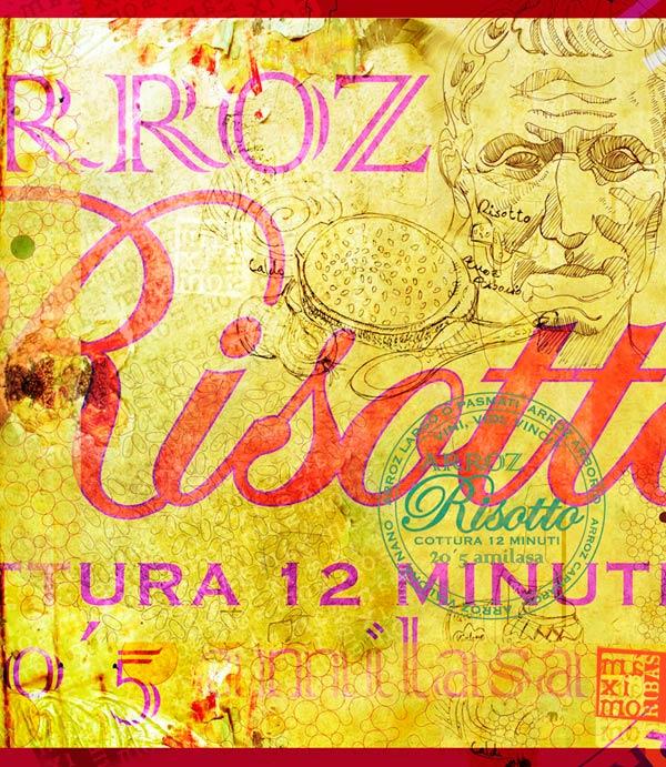 ilustración creativa de Máximo Ribas sobre Julio Cesar y el risotto